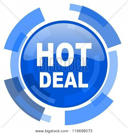 hot deal blue glossy circle modern web icon