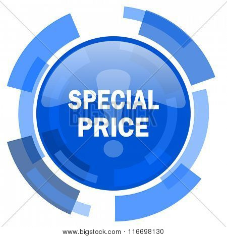 special price blue glossy circle modern web icon