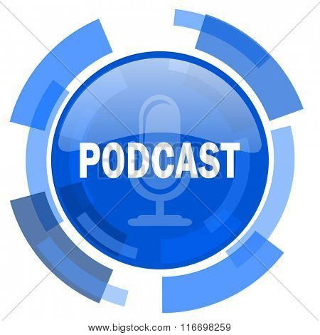 podcast blue glossy circle modern web icon