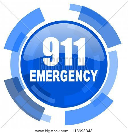 number emergency 911 blue glossy circle modern web icon