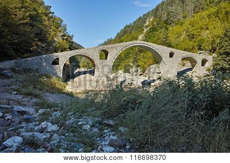 View of  Devil's Bridge and Arda river, Kardzhali Region, Bulgaria