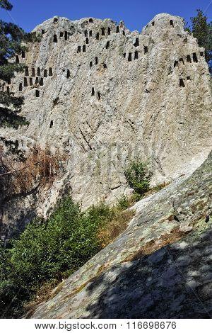 Ruins of Thracian Sanctuary Eagle Rocks near town of Ardino, Bulgaria