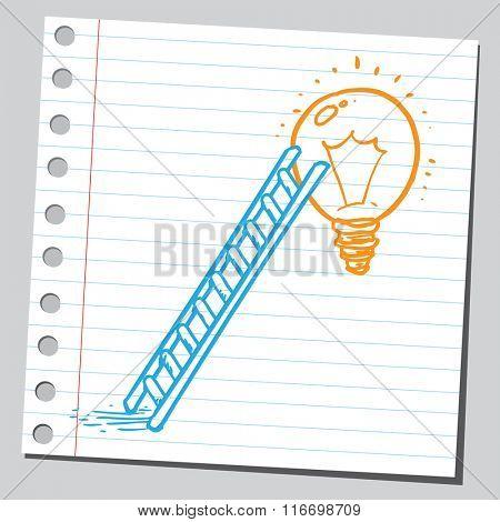 Ladder and lightbulb (idea concept)