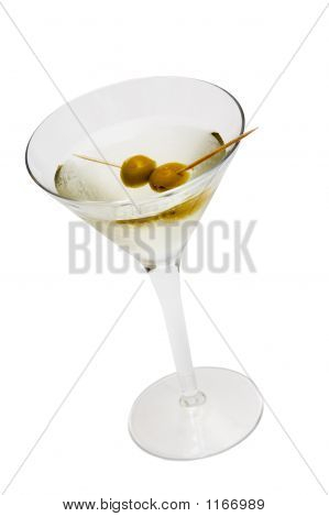 Glass With Martini And Olives Isolated On White Background