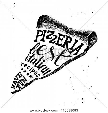Pizzeria black and white hand drawn lettering