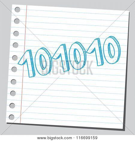 Note paper sketch of a binary code