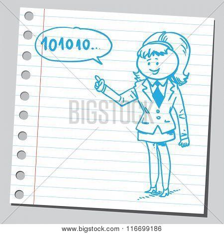 Businesswoman speaking binary code
