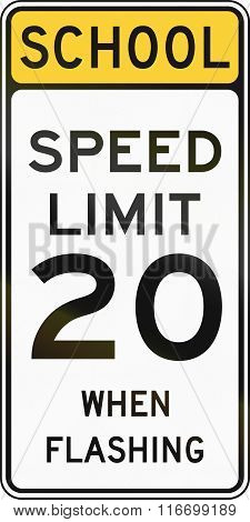 United States Mutcd School Zone Road Warning Sign - Speed Limit
