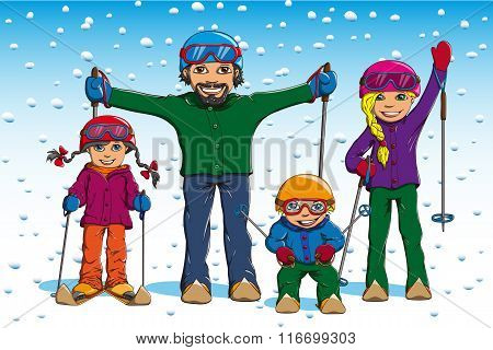 Family Skiing In Winter