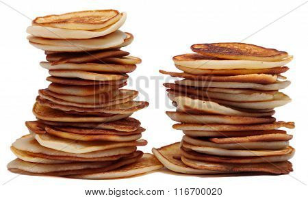 Pile of pancakes isolated on a white background . Shrovetide