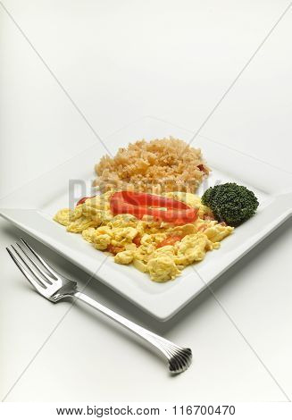 Scrambled Eggs And Rice.