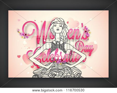 Elegant greeting card design with illustration of a young girl on hearts decorated background for Happy Women's Day celebration.
