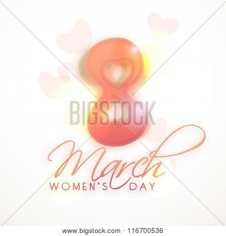 Creative glossy text 8 March with hearts for Happy Women's Day celebration.