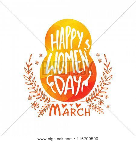 Elegant greeting card design with creative text 8 March for Happy Women's Day celebration.