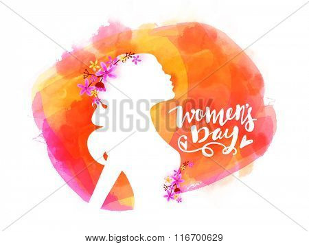 Elegant greeting card design with illustration of young girl on colorful background for Happy Women's Day celebration.