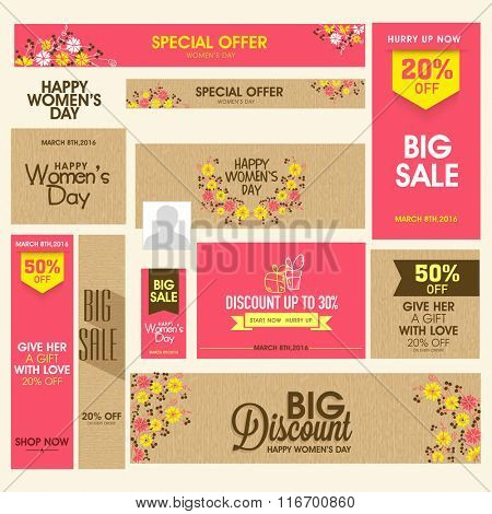 Creative Social Media post and header set of Sale with Discount Offer for Happy Women's Day celebration.
