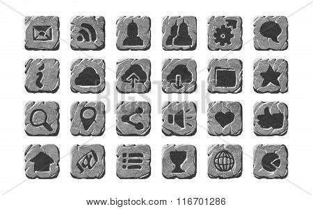 Realistic stone icons and buttons.