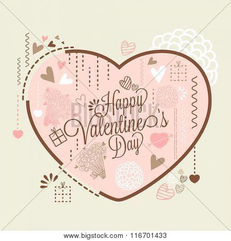 Elegant greeting card design with big pink heart for Happy Valentine's Day celebration.