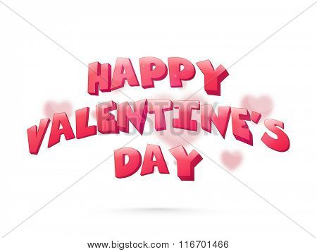 Beautiful greeting card design with elegant text Happy Valentine's Day on hearts decorated background.