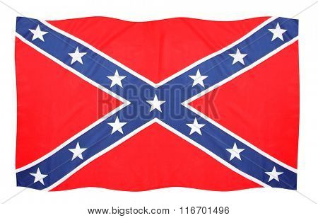 Confederate Battle Flag with St Andrews Cross waving on white background. Symbol of todays rebels and wild motorbikers.