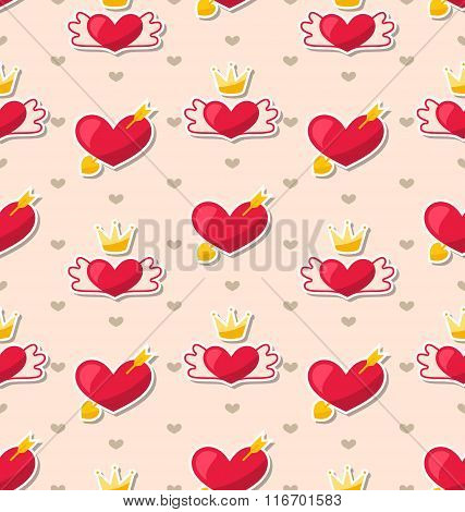 Seamless Pattern with Hearts for Valentines Day