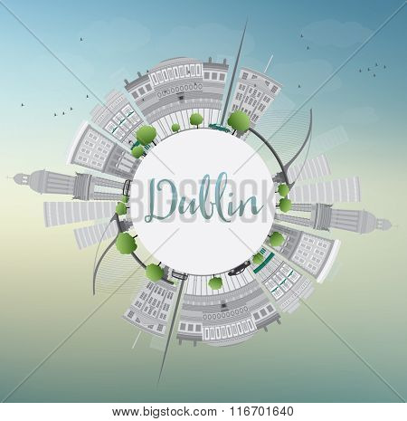 Dublin Skyline with Gray Buildings, Blue Sky and Copy Space, Ireland. Vector Illustration. Business Travel and Tourism Concept with Historic Buildings. Image for Presentation Banner Placard and Web.