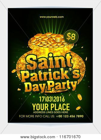 St. Patrick's Day Party celebration Pamphlet, Banner or Flyer design decorated with golden pot full of gold coins on green background.