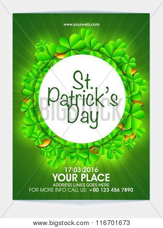Glossy shamrock leaves and gold coins decorated, Pamphlet, Banner or Flyer design for St. Patrick's Day celebration.