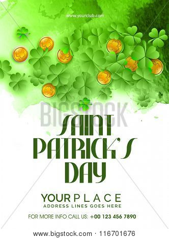 Glossy Shamrock Leaves and Gold Coins decorated, Pamphlet, Banner or Flyer design for Happy Saint Patrick's Day celebration.