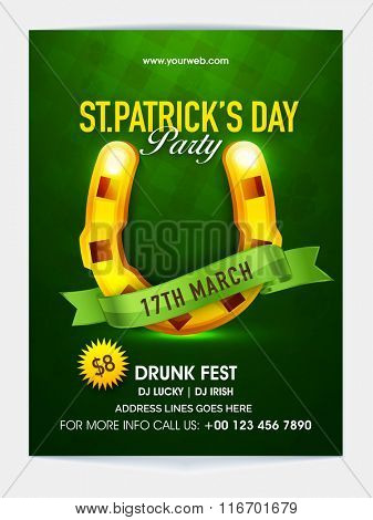 Golden Horseshoe and green ribbon decorated, Pamphlet, Banner or Flyer design for Happy St. Patrick's Day celebration.