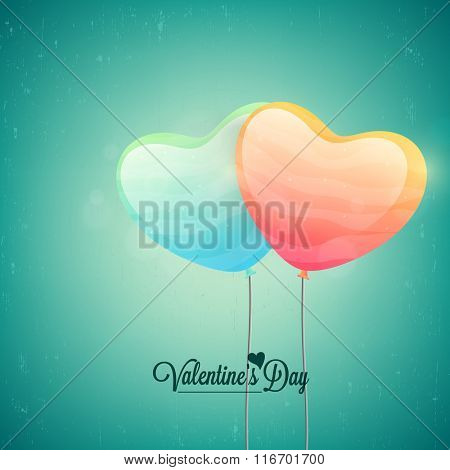Glossy heart shaped balloons flying on shiny background for Happy Valentine's Day celebration.