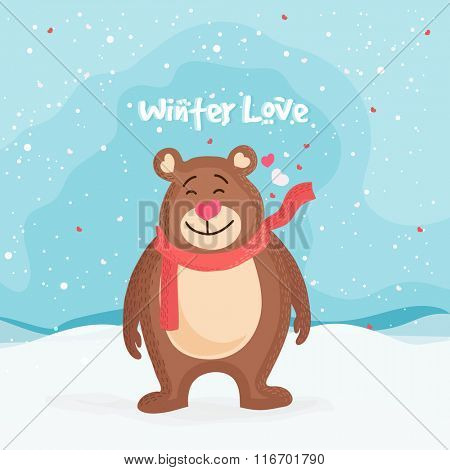 Cute smiling bear on winter background for Love Season concept.
