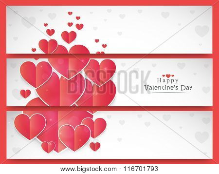 Shiny elegant hearts decorated beautiful website headers or banners set for Happy Valentine's Day celebration.