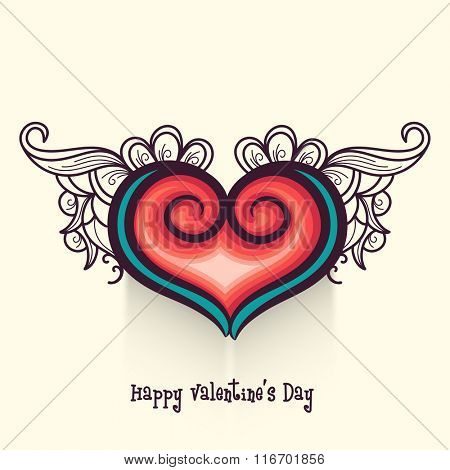 Beautiful greeting card with heart and floral design for Happy Valentine's Day celebration.