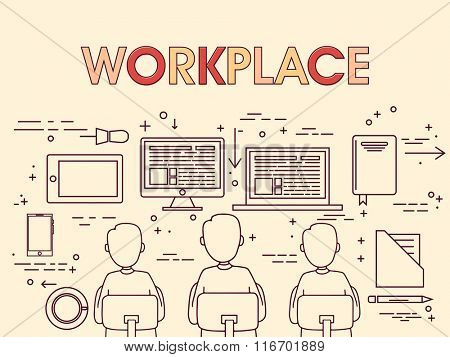 Illustration of workers working with digital devices on workplace.