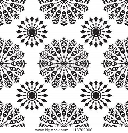 Seamless with black and white mandalas
