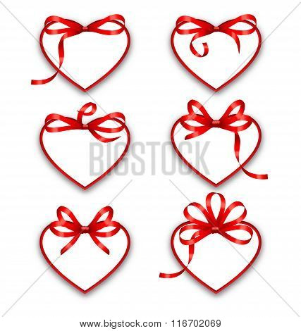 Set Paper Cards in Form Hearts with Red Bows for Happy Valentines Day