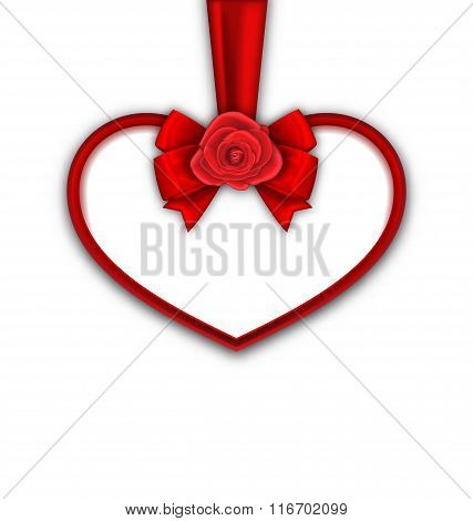 Red Heart with Red Rose, Ribbon and Bow for Happy Valentines Day