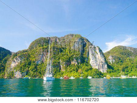 Idyllic Island Sea Rocks