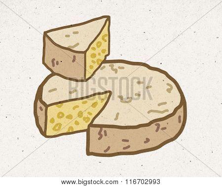 natural cheese illustration