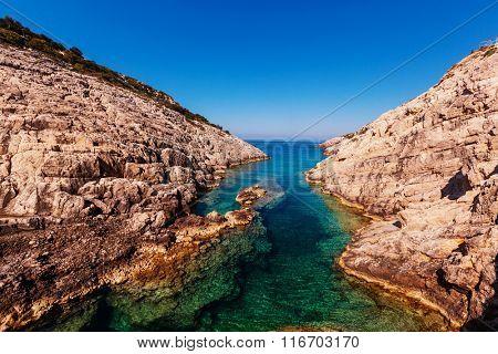 Beautiful sea landscapes on Zakynthos Island in Greece