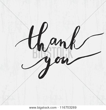 Thank you ink lettering phrase. Watercolor painted vector illustration for web, print, crd, crapbooking design