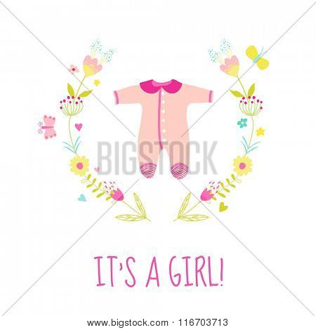 Baby Girl Shower or Arrival Card - with Cute Bodysuit - in vector