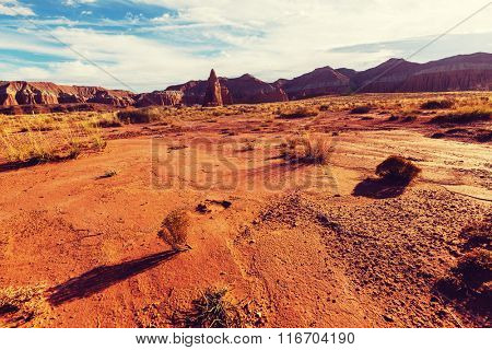 Temples of the Moon and Sun in Cathedral Valley in Capitol Reef National Park, Utah
