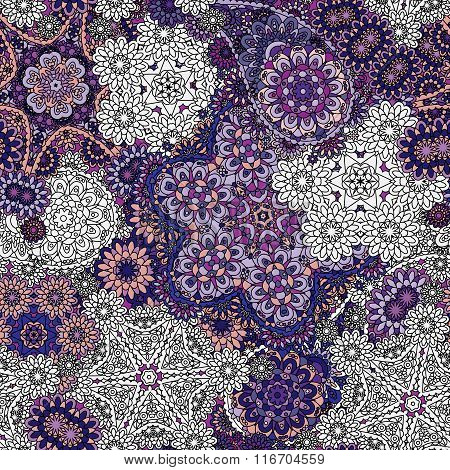 Seamless Asian Ethnic Floral Retro Doodle Violet Lilac Blue White Background Pattern In Vector.