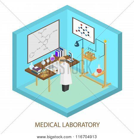 Medical laboratory scientist, Isometric flat vector illustration