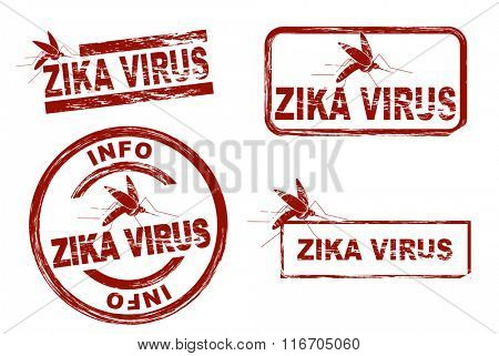 Set of stylized ink stamps showing the term zika virus
