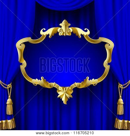 Suspended decorative gold gold baroque frame on the blue curtain background. Square presentation artistic poster and placard. Contain the Clipping Path