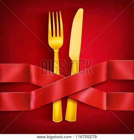 Golden Fork And Knife With Two Intersecting Satin Ribbons. Menu Template