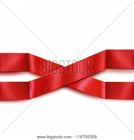 Two Red Satin Intersecting Ribbons Isolated Over White Background